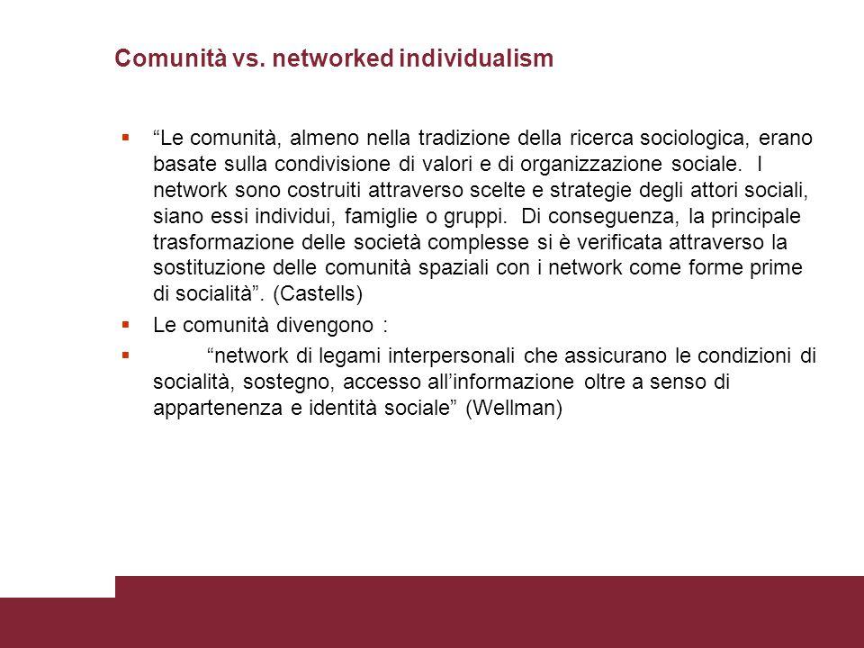 """Comunità vs. networked individualism  """"Le comunità, almeno nella tradizione della ricerca sociologica, erano basate sulla condivisione di valori e di"""