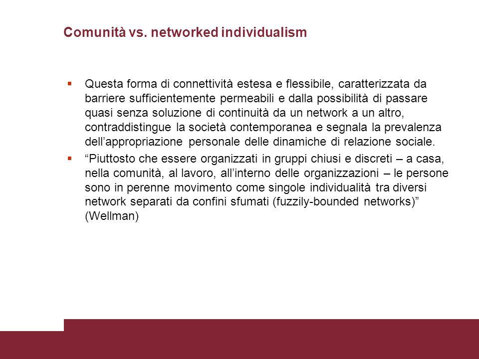 Comunità vs. networked individualism  Questa forma di connettività estesa e flessibile, caratterizzata da barriere sufficientemente permeabili e dall
