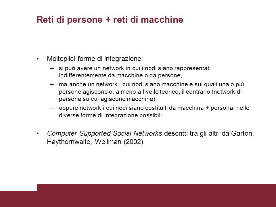 Reti di persone + reti di macchine Molteplici forme di integrazione: –si può avere un network in cui i nodi siano rappresentati indifferentemente da m