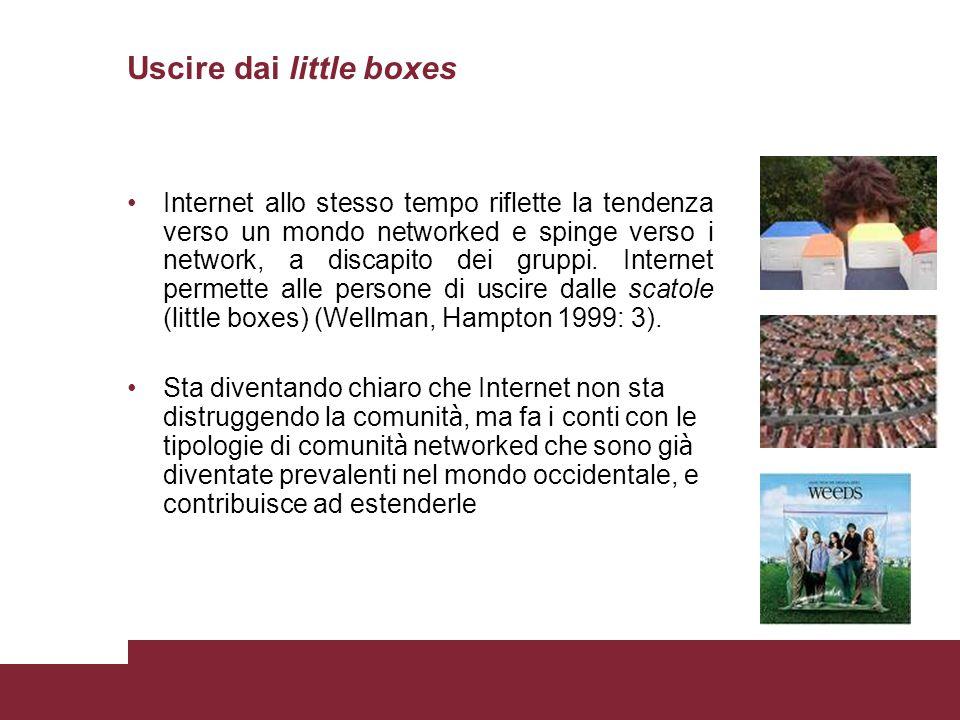 Uscire dai little boxes Internet allo stesso tempo riflette la tendenza verso un mondo networked e spinge verso i network, a discapito dei gruppi. Int