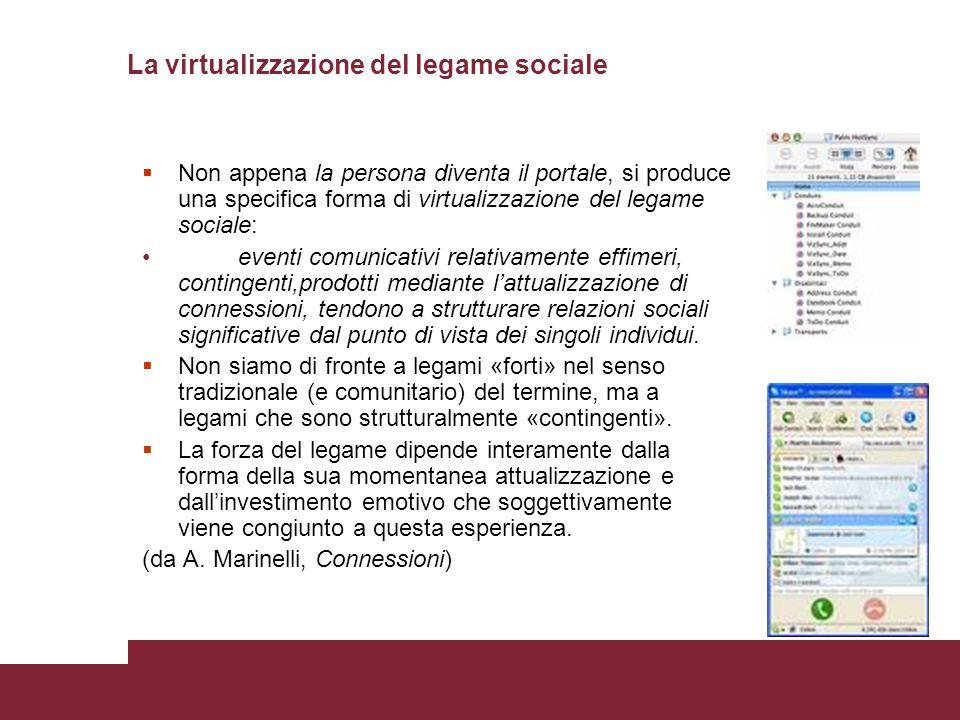 La virtualizzazione del legame sociale  Non appena la persona diventa il portale, si produce una specifica forma di virtualizzazione del legame socia
