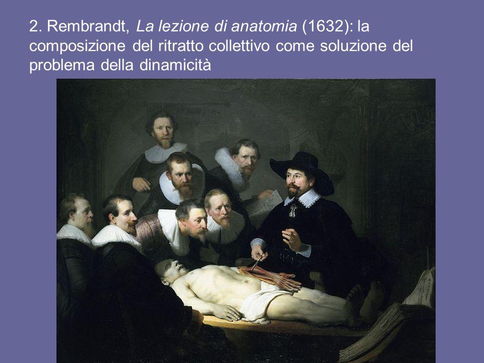 2. Rembrandt, La lezione di anatomia (1632): la composizione del ritratto collettivo come soluzione del problema della dinamicità