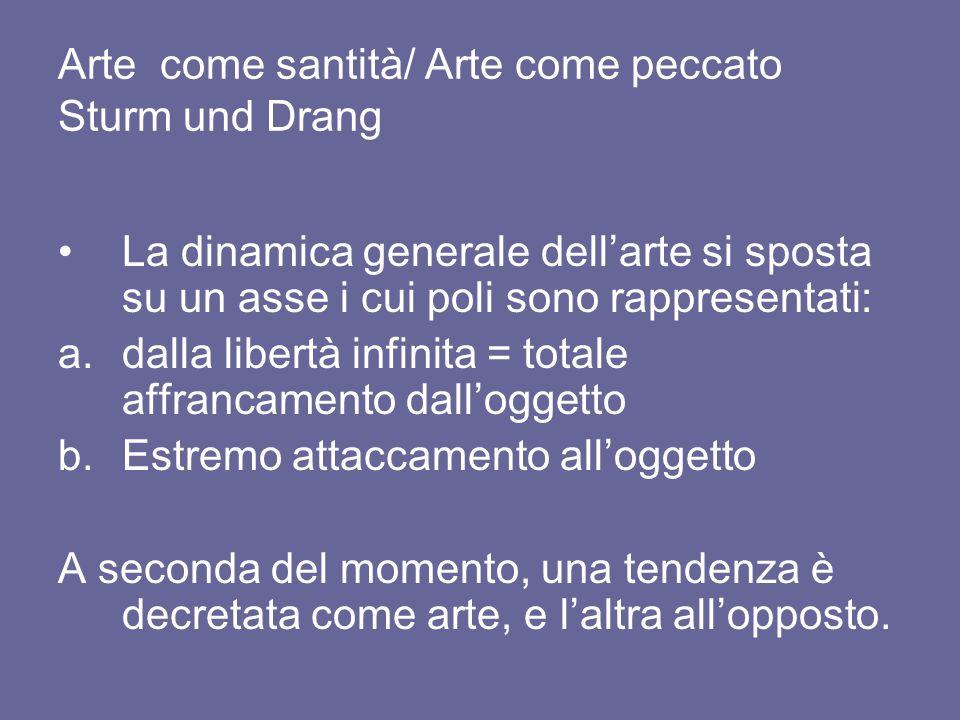 Arte come santità/ Arte come peccato Sturm und Drang La dinamica generale dell'arte si sposta su un asse i cui poli sono rappresentati: a.dalla libert