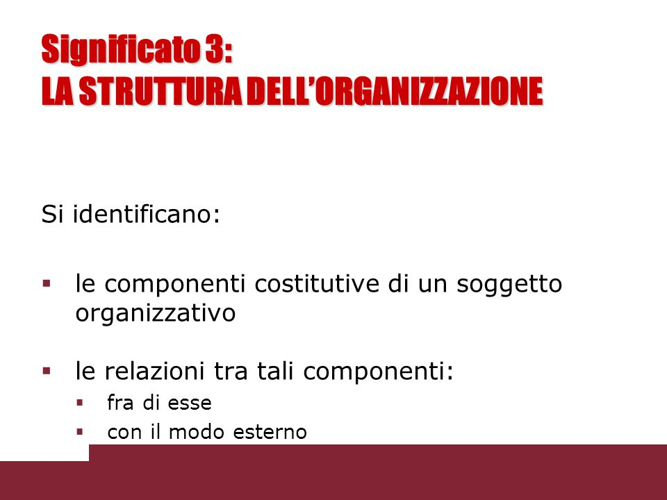 Significato 3: LA STRUTTURA DELL'ORGANIZZAZIONE Si identificano:  le componenti costitutive di un soggetto organizzativo  le relazioni tra tali comp