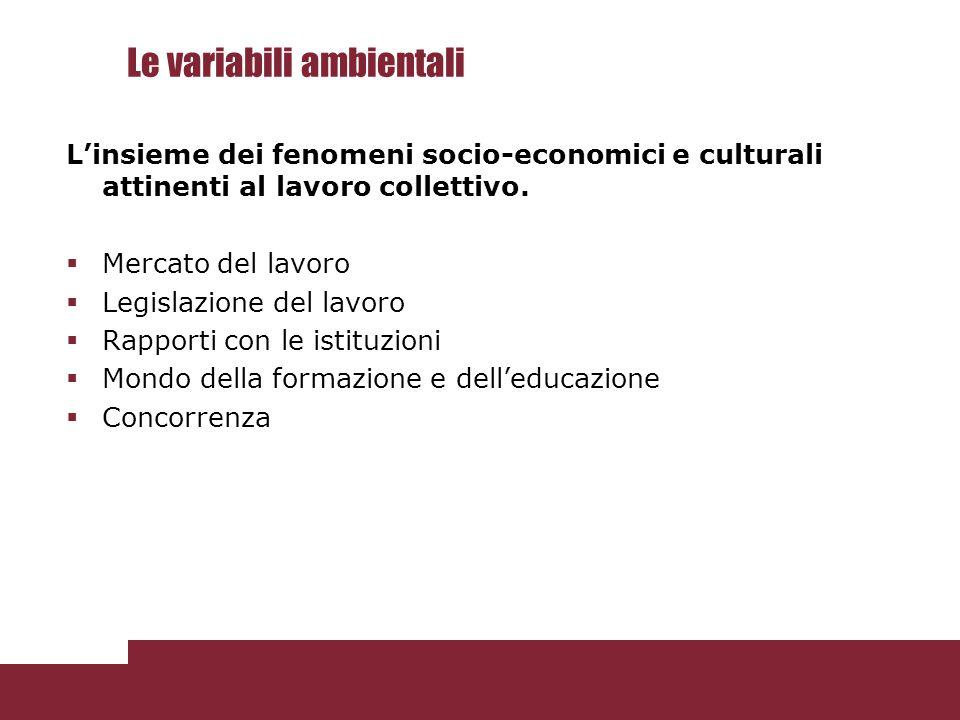 Le variabili ambientali L'insieme dei fenomeni socio-economici e culturali attinenti al lavoro collettivo.  Mercato del lavoro  Legislazione del lav