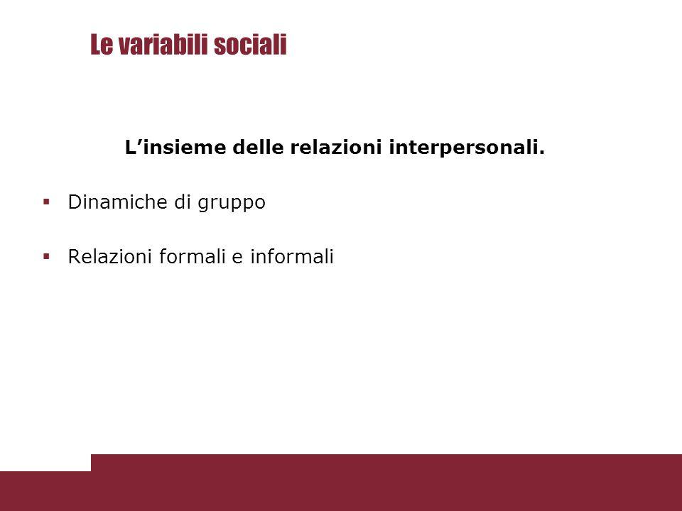 Le variabili sociali L'insieme delle relazioni interpersonali.  Dinamiche di gruppo  Relazioni formali e informali