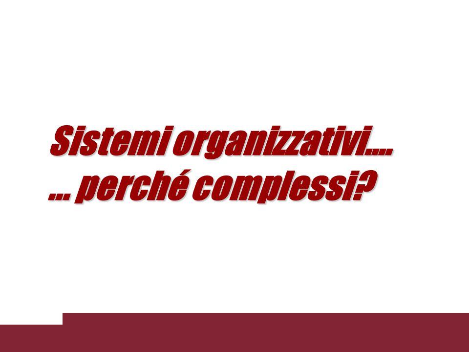 Sistemi organizzativi....... perché complessi?