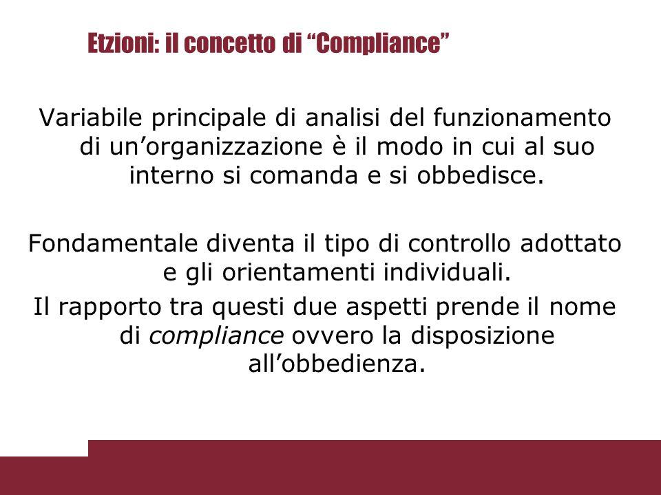 """Etzioni: il concetto di """"Compliance"""" Variabile principale di analisi del funzionamento di un'organizzazione è il modo in cui al suo interno si comanda"""
