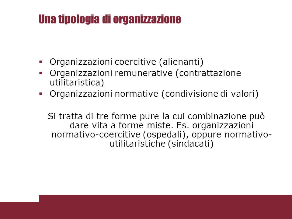Una tipologia di organizzazione  Organizzazioni coercitive (alienanti)  Organizzazioni remunerative (contrattazione utilitaristica)  Organizzazioni