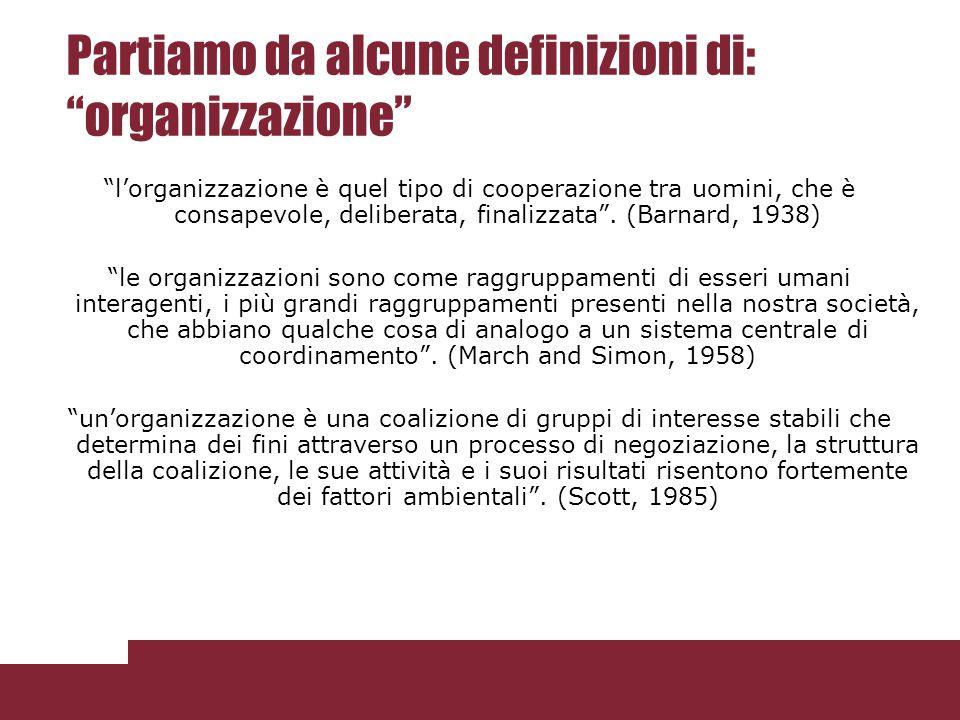 """Partiamo da alcune definizioni di: """"organizzazione"""" """"l'organizzazione è quel tipo di cooperazione tra uomini, che è consapevole, deliberata, finalizza"""