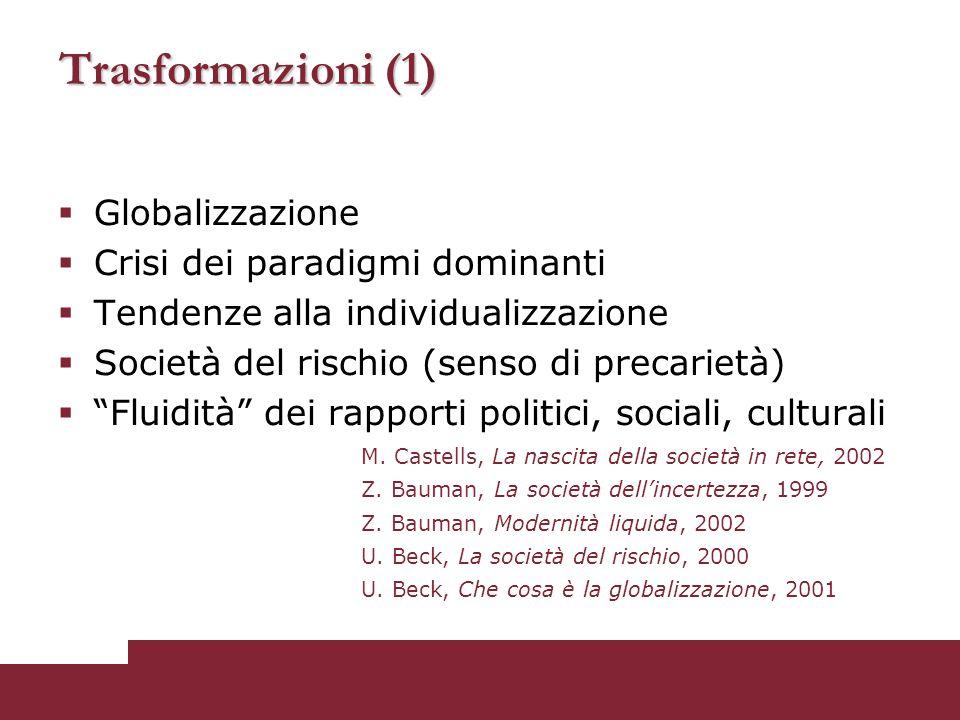 Trasformazioni (1)  Globalizzazione  Crisi dei paradigmi dominanti  Tendenze alla individualizzazione  Società del rischio (senso di precarietà) 