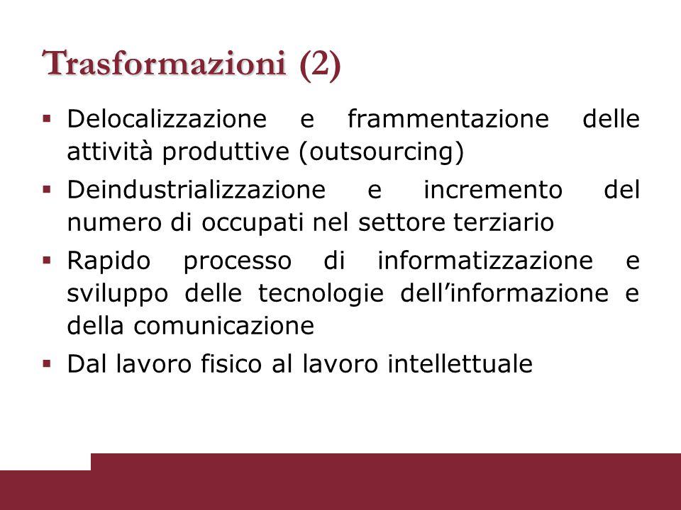  Delocalizzazione e frammentazione delle attività produttive (outsourcing)  Deindustrializzazione e incremento del numero di occupati nel settore te
