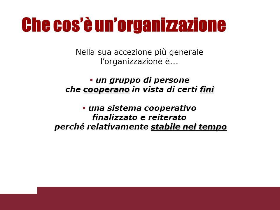 Che cos'è un'organizzazione Nella sua accezione più generale l'organizzazione è...  un gruppo di persone cooperanofini che cooperano in vista di cert