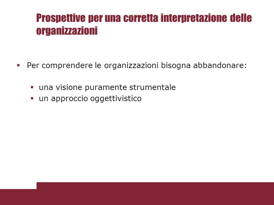 Prospettive per una corretta interpretazione delle organizzazioni  Per comprendere le organizzazioni bisogna abbandonare:  una visione puramente str