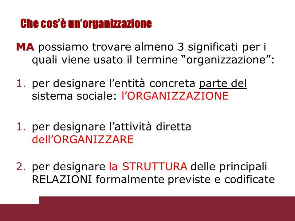 Una tipologia di organizzazione  Organizzazioni coercitive (alienanti)  Organizzazioni remunerative (contrattazione utilitaristica)  Organizzazioni normative (condivisione di valori) Si tratta di tre forme pure la cui combinazione può dare vita a forme miste.