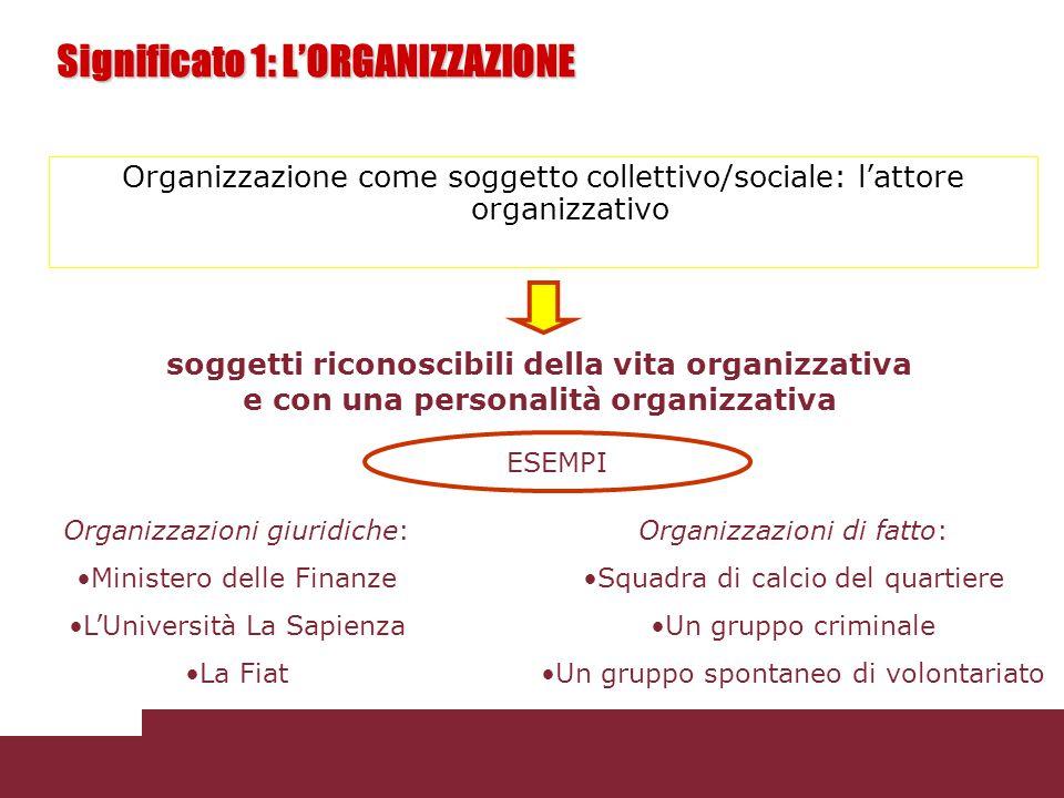 Significato 1: L'ORGANIZZAZIONE Organizzazione come soggetto collettivo/sociale: l'attore organizzativo soggetti riconoscibili della vita organizzativ