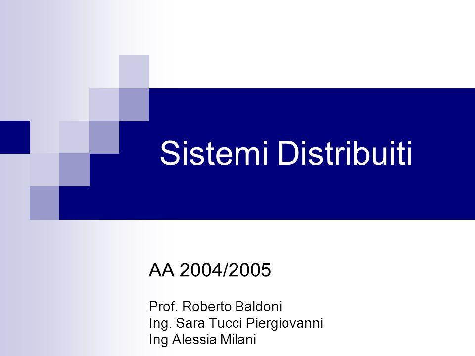 Sistemi Distribuiti AA 2004/2005 Prof. Roberto Baldoni Ing. Sara Tucci Piergiovanni Ing Alessia Milani