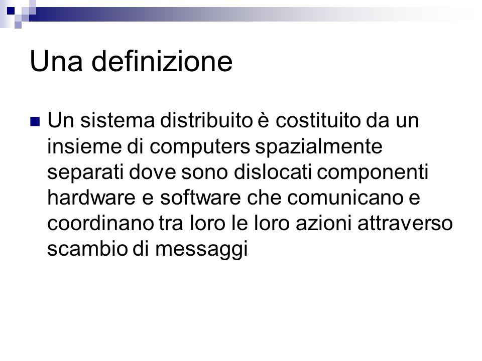 Obiettivo primario: Condivisione dati/risorse Condivisione dei dati come in database distribuiti.