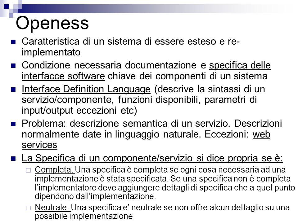 Openess Caratteristica di un sistema di essere esteso e re- implementato Condizione necessaria documentazione e specifica delle interfacce software ch