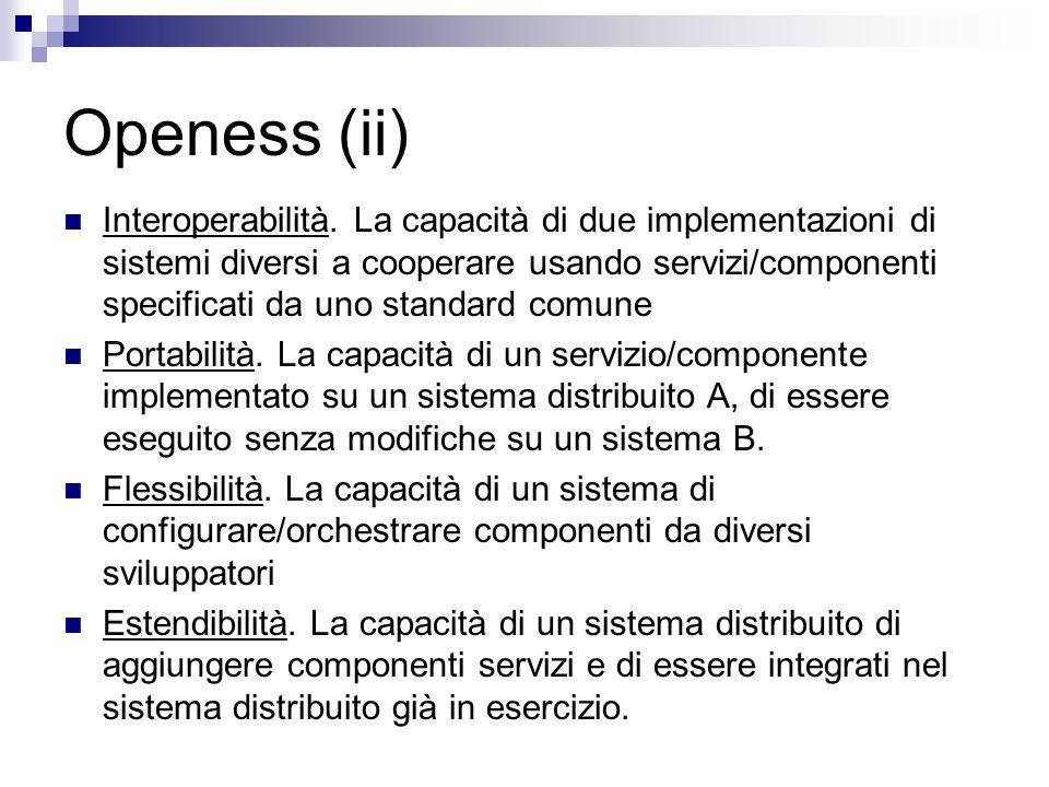 Openess (ii) Interoperabilità. La capacità di due implementazioni di sistemi diversi a cooperare usando servizi/componenti specificati da uno standard