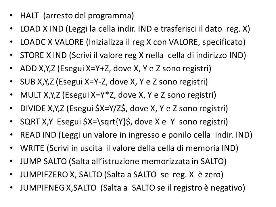 HALT (arresto del programma) LOAD X IND (Leggi la cella indir. IND e trasferisci il dato reg. X) LOADC X VALORE (Inizializza il reg X con VALORE, spec