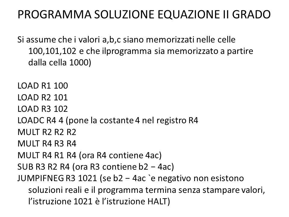 PROGRAMMA SOLUZIONE EQUAZIONE II GRADO Si assume che i valori a,b,c siano memorizzati nelle celle 100,101,102 e che ilprogramma sia memorizzato a part