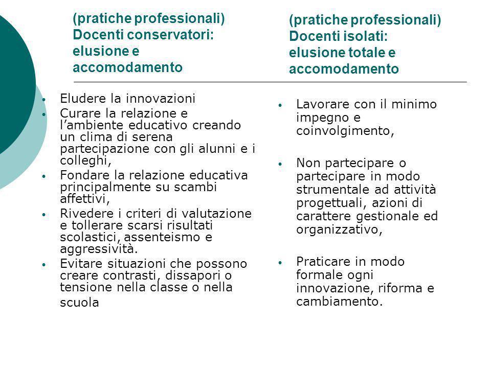 (pratiche professionali) Docenti conservatori: elusione e accomodamento Eludere la innovazioni Curare la relazione e l'ambiente educativo creando un c