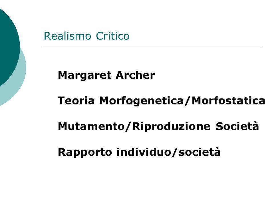 Realismo Critico Margaret Archer Teoria Morfogenetica/Morfostatica Mutamento/Riproduzione Società Rapporto individuo/società