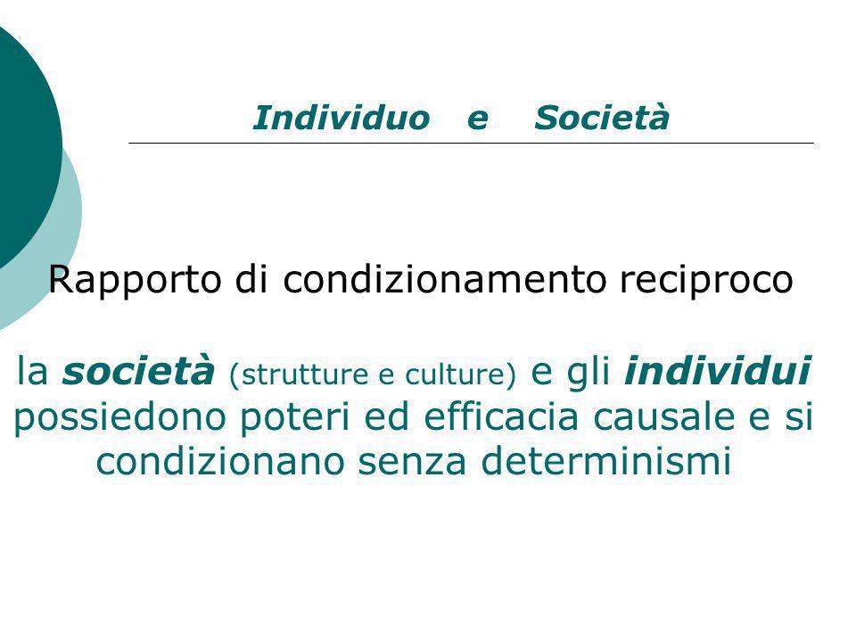Rapporto di condizionamento reciproco la società (strutture e culture) e gli individui possiedono poteri ed efficacia causale e si condizionano senza determinismi Individuo e Società