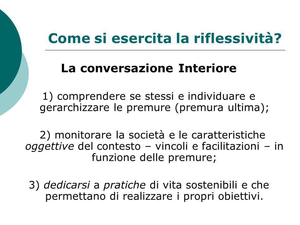 Come si esercita la riflessività? La conversazione Interiore 1) comprendere se stessi e individuare e gerarchizzare le premure (premura ultima); 2) mo