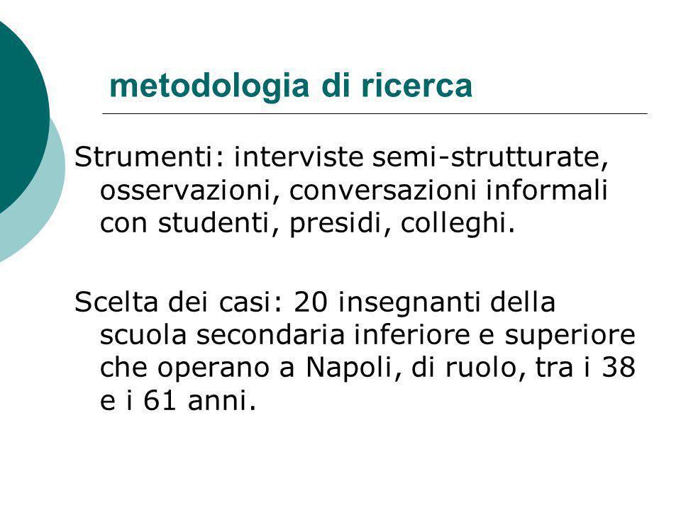 metodologia di ricerca Strumenti: interviste semi-strutturate, osservazioni, conversazioni informali con studenti, presidi, colleghi. Scelta dei casi: