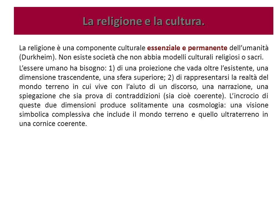 La religione è una componente culturale essenziale e permanente dell'umanità (Durkheim). Non esiste società che non abbia modelli culturali religiosi