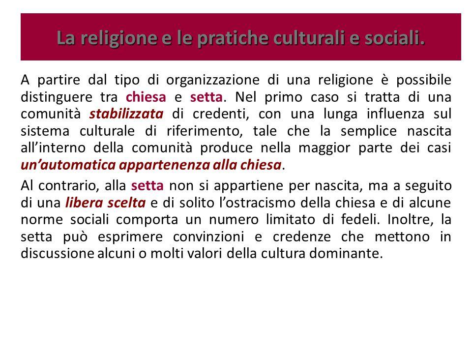 A partire dal tipo di organizzazione di una religione è possibile distinguere tra chiesa e setta. Nel primo caso si tratta di una comunità stabilizzat