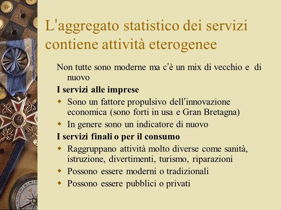 L ' aggregato statistico dei servizi contiene attività eterogenee Non tutte sono moderne ma c ' è un mix di vecchio e di nuovo I servizi alle imprese