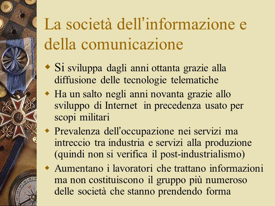 La società dell ' informazione e della comunicazione  Si sviluppa dagli anni ottanta grazie alla diffusione delle tecnologie telematiche  Ha un salt