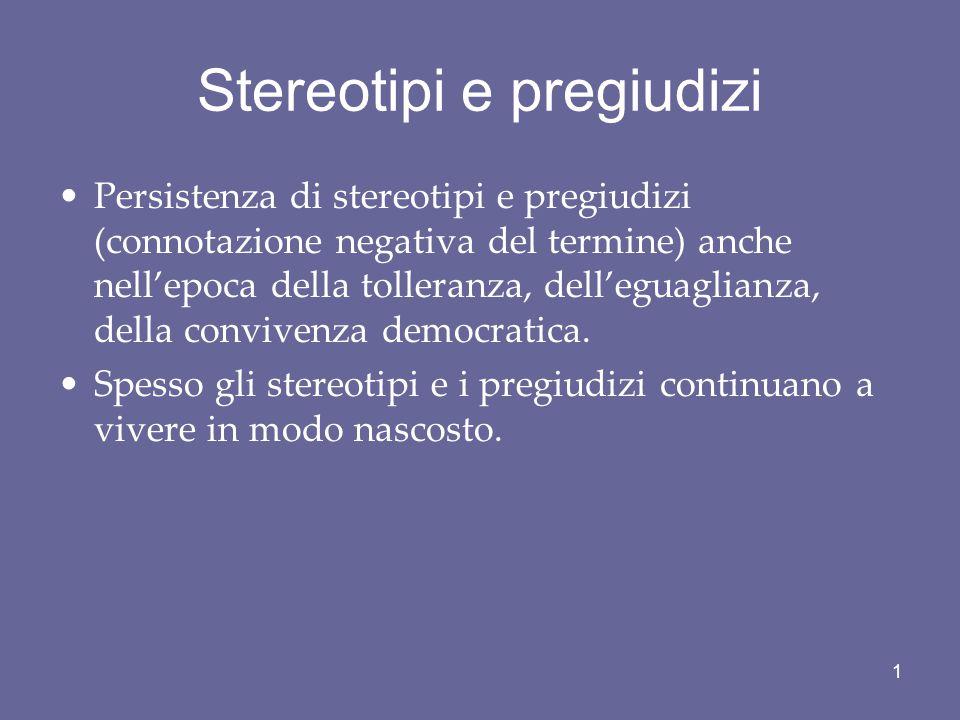Qualche riferimento bibliografico B.M. Mazzara, Stereotipi e pregiudizi, Bologna, il Mulino, 1997.