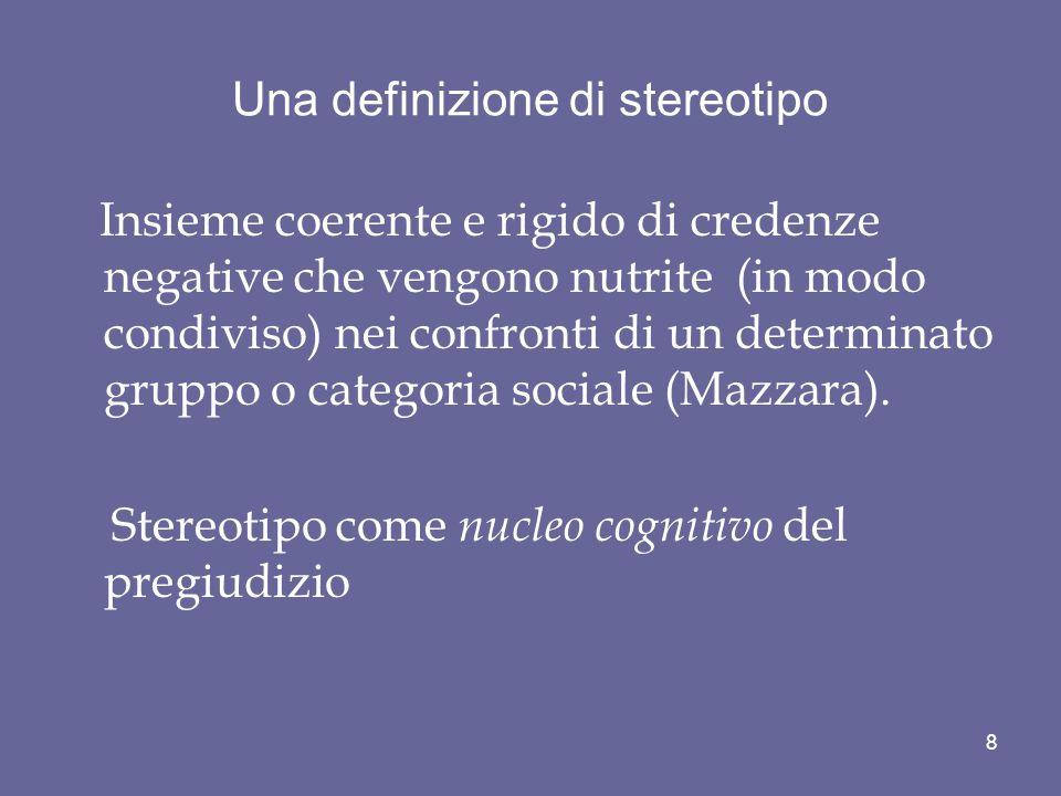 La differenza concettuale tra categorie e stereotipi.