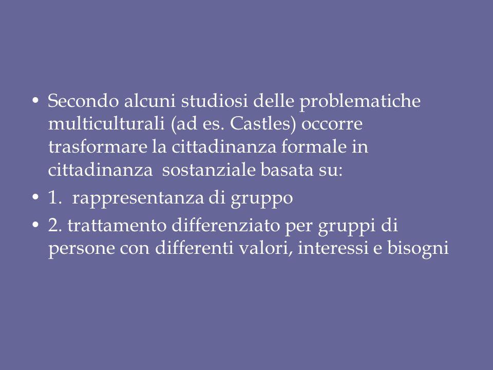 Secondo alcuni studiosi delle problematiche multiculturali (ad es. Castles) occorre trasformare la cittadinanza formale in cittadinanza sostanziale ba