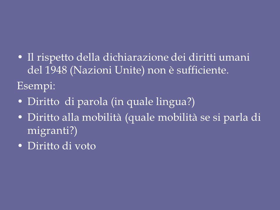 Il rispetto della dichiarazione dei diritti umani del 1948 (Nazioni Unite) non è sufficiente. Esempi: Diritto di parola (in quale lingua?) Diritto all