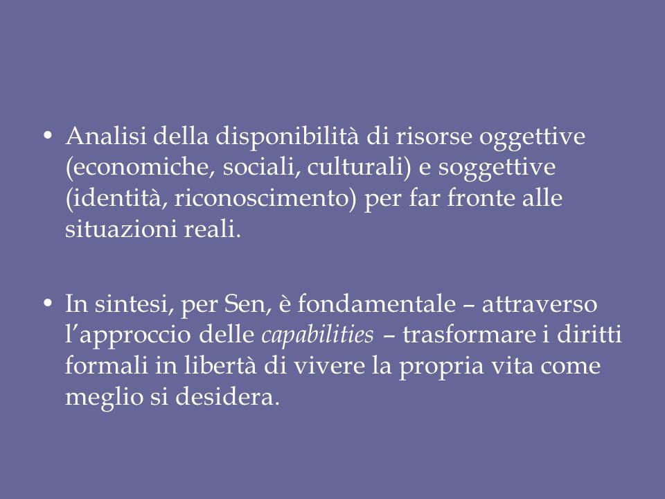 Analisi della disponibilità di risorse oggettive (economiche, sociali, culturali) e soggettive (identità, riconoscimento) per far fronte alle situazio