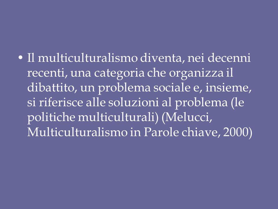 Il multiculturalismo diventa, nei decenni recenti, una categoria che organizza il dibattito, un problema sociale e, insieme, si riferisce alle soluzio