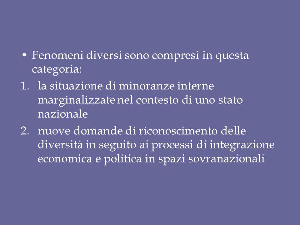 Fenomeni diversi sono compresi in questa categoria: 1.la situazione di minoranze interne marginalizzate nel contesto di uno stato nazionale 2. nuove d