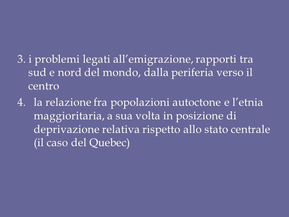 3. i problemi legati all'emigrazione, rapporti tra sud e nord del mondo, dalla periferia verso il centro 4.la relazione fra popolazioni autoctone e l'
