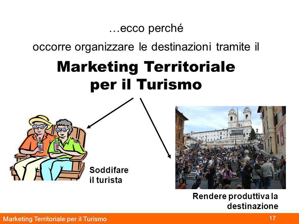 Marketing Territoriale per il Turismo 17 …ecco perché occorre organizzare le destinazioni tramite il Marketing Territoriale per il Turismo Soddifare il turista Rendere produttiva la destinazione
