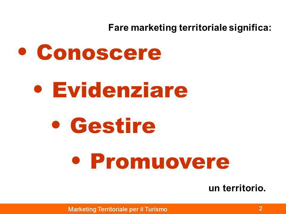 Marketing Territoriale per il Turismo 2 Conoscere Evidenziare Promuovere Gestire Fare marketing territoriale significa: un territorio.