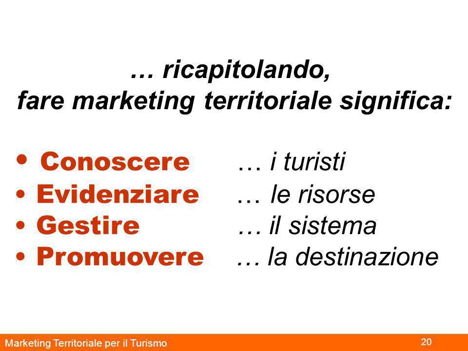 Marketing Territoriale per il Turismo 20 … ricapitolando, fare marketing territoriale significa: Conoscere … i turisti Evidenziare … le risorse Gestire … il sistema Promuovere … la destinazione