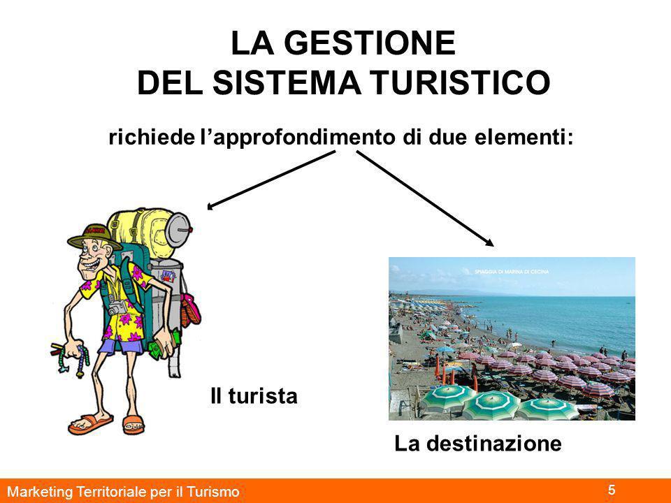 Marketing Territoriale per il Turismo 5 LA GESTIONE DEL SISTEMA TURISTICO richiede l'approfondimento di due elementi: Il turista La destinazione