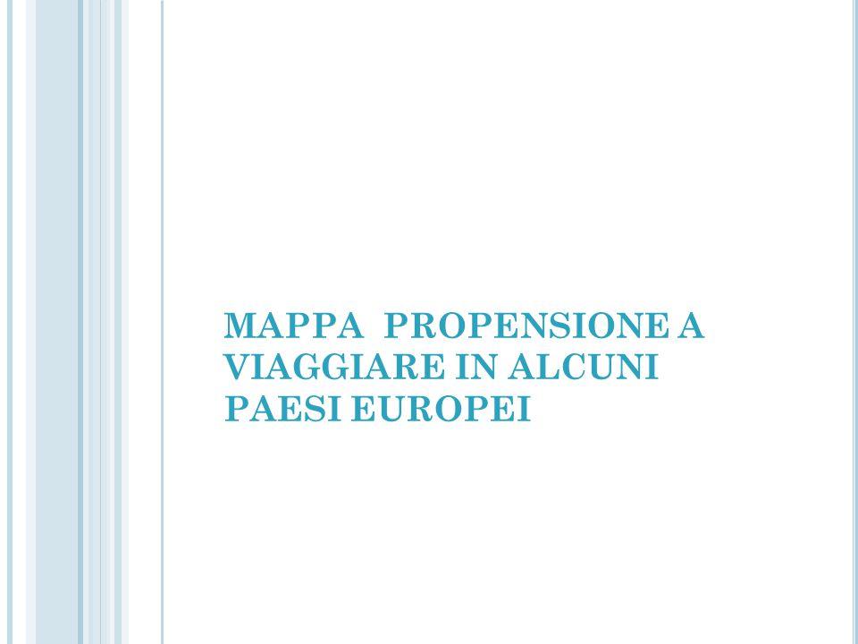 MAPPA PROPENSIONE A VIAGGIARE IN ALCUNI PAESI EUROPEI