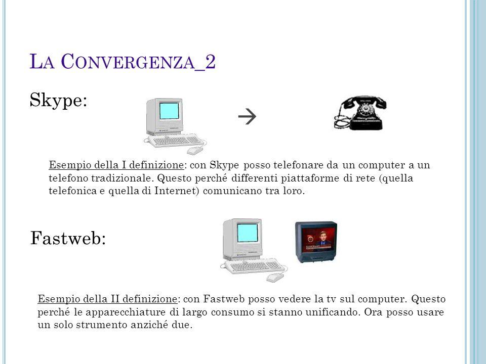 L A C ONVERGENZA _2 Skype:  Fastweb: Esempio della I definizione: con Skype posso telefonare da un computer a un telefono tradizionale. Questo perché