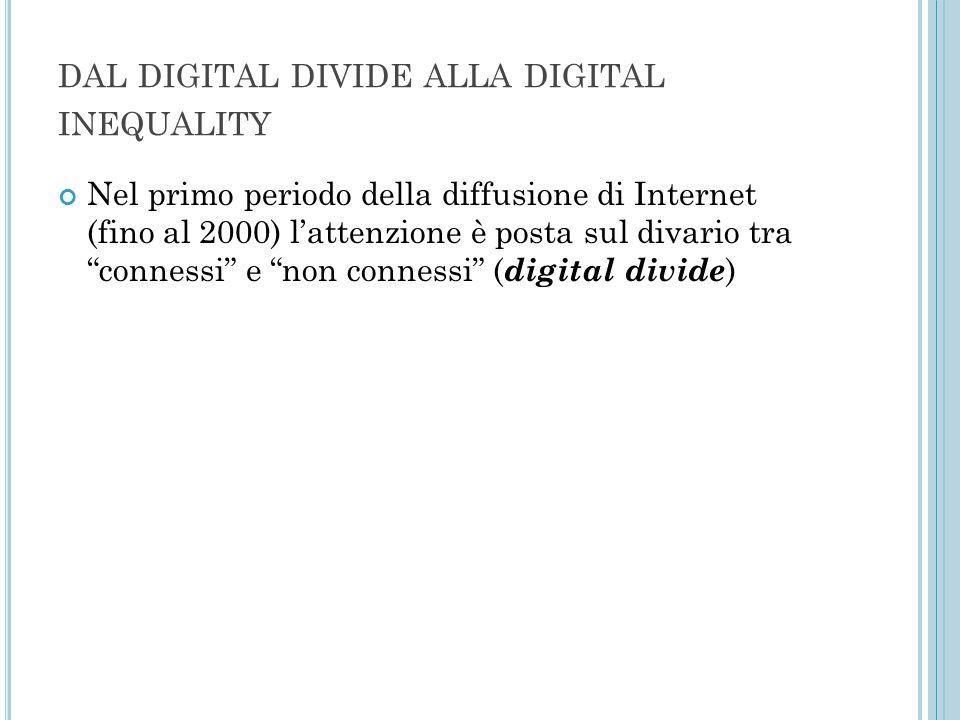 """DAL DIGITAL DIVIDE ALLA DIGITAL INEQUALITY Nel primo periodo della diffusione di Internet (fino al 2000) l'attenzione è posta sul divario tra """"conness"""